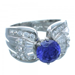 Cubic Zirconia And Tanzanite Sterling Silver Southwestern Jewelry Ring Size 6 AX71385