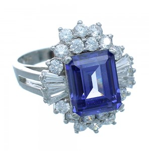 Silver Cubic Zirconia And Tanzanite Southwestern Ring Size 7 AX71395