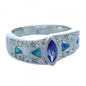 Tanzanite Blue Opal Sterling Silver Ring Size 5-3/4 Jewelry AS50132