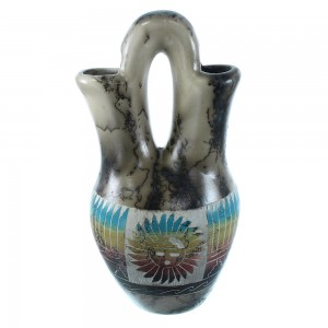 Native American Horse Hair Sun Navajo Hand Crafted Wedding Vase By Artist Marlyn SX105070