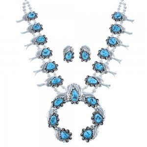 Navajo Turquoise Sterling Silver Leaf Squash Blossom Necklace Set SX105102