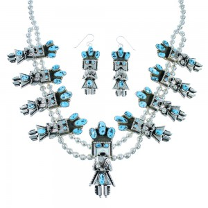 Navajo Turquoise Sterling Silver Kachina Figure Squash Blossom Necklace Set SX105106