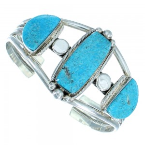 Navajo Authentic Sterling Silver Turquoise Cuff Bracelet SX105217