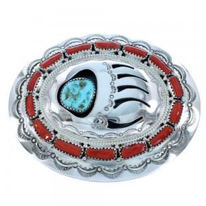 Navajo Turquoise And Coral Bear Paw Genuine Sterling Silver Belt Buckle SX105271