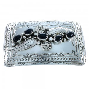 Authentic Sterling Silver Navajo Onyx Leaf Belt Buckle SX105297