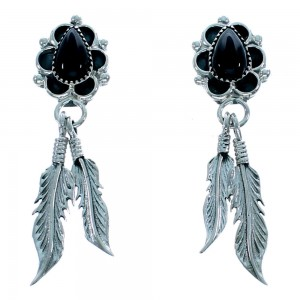 Sterling Silver Navajo Feather Onyx Tear Drop Post Dangle Earrings SX106197