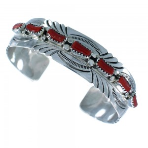 Sterling Silver Native American Coral Cuff Bracelet RX105291