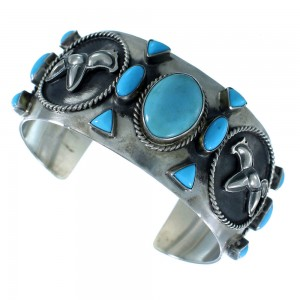 Sterling Silver And Turquoise Native American Horse Cuff Bracelet RX105421