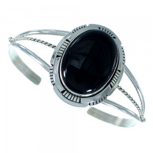 Onyx And Sterling Silver Native American Cuff Bracelet RX105397