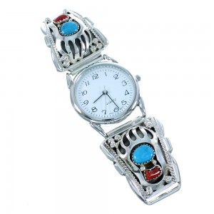 Navajo Turquoise And Coral Authentic Sterling Silver Bear Paw Watch SX105439