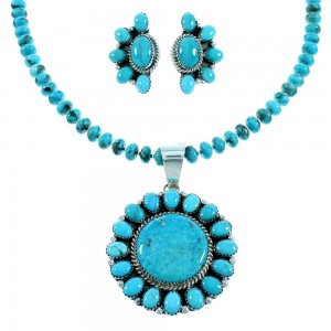 Turquoise Navajo Silver Necklace And Earrings Set RX105472