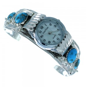 Navajo Sterling Silver Flower Turquoise Cuff Watch SX105581