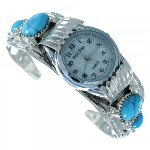 Navajo Genuine Sterling Silver Flower Turquoise Cuff Watch SX105582