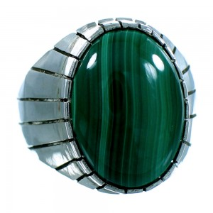 Navajo Ray Jack Multicolor Sterling Silver Malachite Ring Size 9-1/2 RX106148