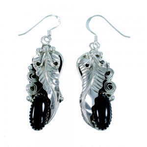 Genuine Sterling Silver Navajo Indian Onyx Leaf Hook Dangle Earrings RX105717