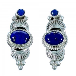 Sterling Silver Navajo Lapis Clip On Earrings RX105705