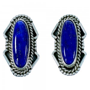 Lapis And Sterling Silver Native American Clip On Earrings RX105780