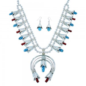 Navajo Turquoise And Coral Sterling Silver Squash Blossom Necklace Set RX105666