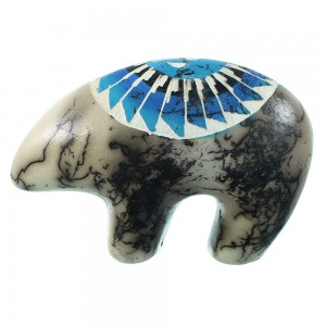 Hand Crafted Horse Hair Pottery Navajo Bear By Artist Al SX105729