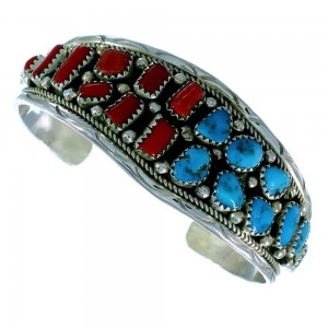 American Indian Authentic Sterling Silver Turquoise Coral Cuff Bracelet RX105912