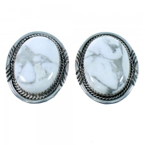 Navajo Authentic Sterling Silver Howlite Post Earrings SX106055