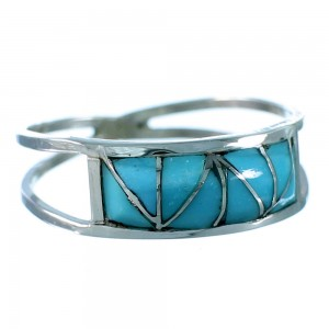 Sterling Silver And Turquoise Inlay Zuni Ring Size 6-1/2 SX106304
