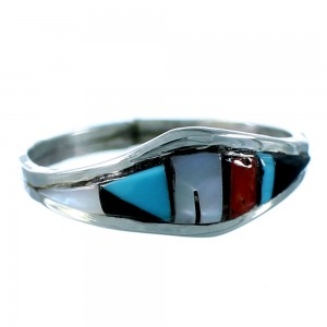 Zuni Genuine Sterling Silver Multicolor Inlay Jewelry Ring Size 7-3/4 SX106323