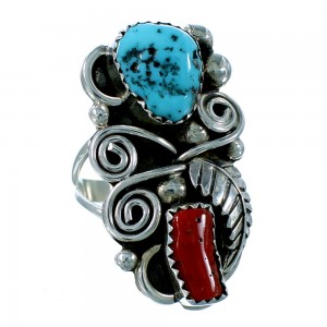 Turquoise And Coral Scalloped Leaf Navajo Sterling Silver Ring Size 7-1/4 SX106325