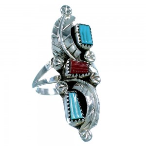 Turquoise And Coral Zuni Sterling Silver Leaf Ring Size 7-3/4 SX106356