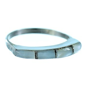 Sterling Silver Mother of Pearl Inlay American Indian Zuni Jewelry Ring Size 6-3/4 TX103247