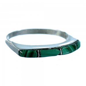 Malachite Inlay Authentic Sterling Silver Zuni Ring Size 6-3/4 SX106119