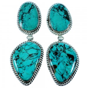 Authentic Sterling Silver Turquoise Navajo Post Dangle Earrings RX106434