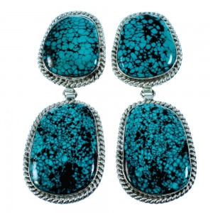 Navajo Sterling Silver Turquoise Post Dangle Earrings RX106435