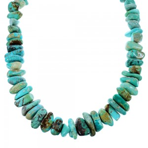 Sterling Silver Kingman Turquoise Southwest Bead Necklace SX106619