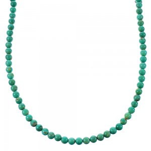 Turquoise And Authentic Sterling Silver Bead Necklace SX106633