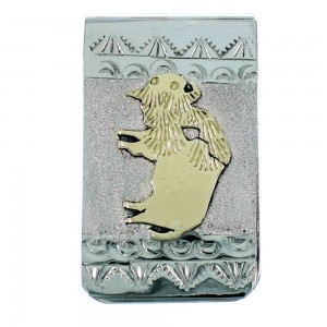 Genuine Sterling Silver And 12GKF Navajo Indian Buffalo Money Clip RX106742