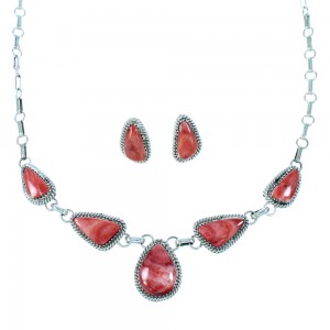 Red Oyster Shell And Sterling Silver Navajo Link Necklace Set RX106754