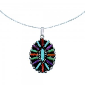 "Multicolor Needlepoint Sterling Silver Pendant 16"" Box Italian Chain Necklace Set RX106785"