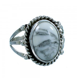 Authentic Sterling Silver Howlite American Indian Ring Size 8-3/4 RX106788