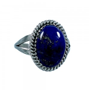American Indian Lapis And Sterling Silver Ring Size 8-1/4 RX106796