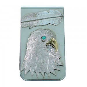 Sterling Silver 12KGF Eagle And Feather Turquoise Navajo Indian Money Clip RX106801