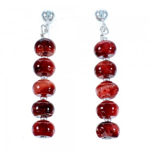 Navajo Sterling Silver Red Oyster Shell Bead Post Dangle Earrings RX106813