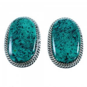 Navajo Turquoise And Sterling Silver Post Earrings RX106824