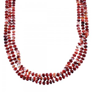 Genuine Sterling Silver 3-Strand Red Oyster Shell American Indian Bead Necklace RX106870