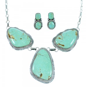 Genuine Sterling Silver Turquoise Navajo Indian Link Necklace Set RX106849