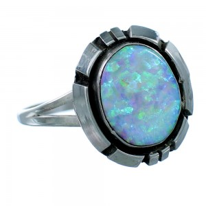 Opal And Sterling Silver Native American Ring Size 5-1/2 EX26221