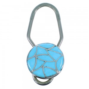 Sterling Silver Zuni Turquoise Inlay Key Chain RX107212