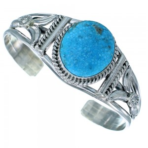 Genuine Sterling Silver Spiderweb Kingman Turquoise Navajo Cuff Bracelet SX107399