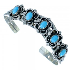 American Indian Sterling Silver Turquoise Cuff Bracelet SX107401