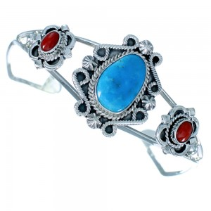 Native American Sterling Silver Turquoise Coral Cuff Bracelet SX107423